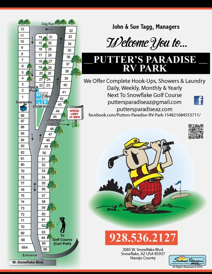 Park Map - Putter's Paradise RV Park Arizona Rv Parks Map on